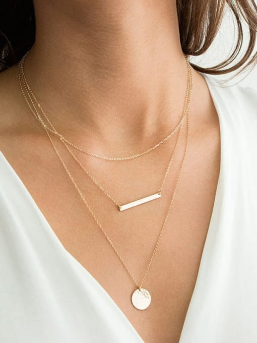 Desoto Stainless steel Minimalist Geometric  Pendant Multi Strand Necklace 1