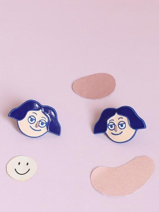 Five Color Alloy Enamel Angel Cute Stud Earring