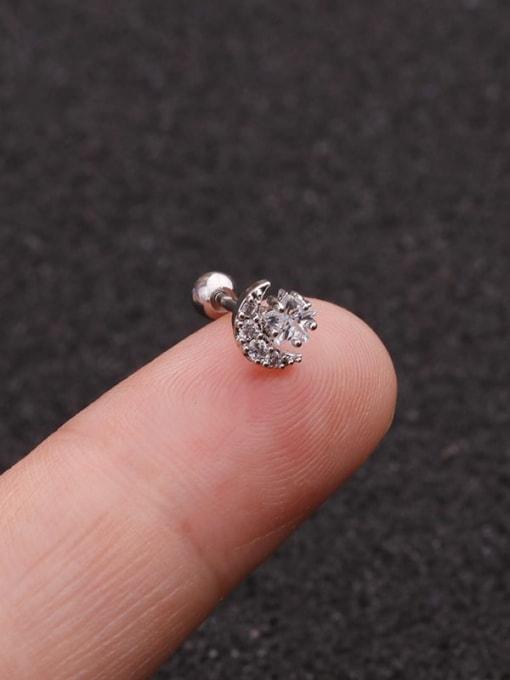steel(Single) Brass Cubic Zirconia Star Minimalist Stud Earring