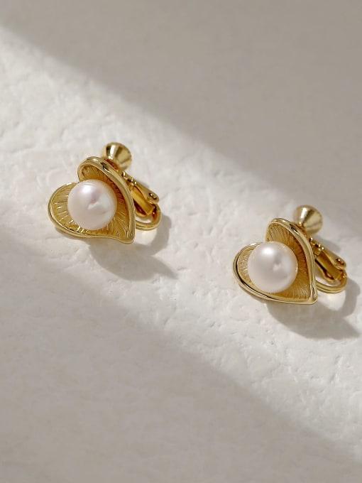 14k gold Brass Imitation Pearl Heart Vintage Stud Trend Korean Fashion Earring