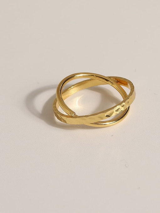 JZ112 Brass Geometric Vintage Band Ring