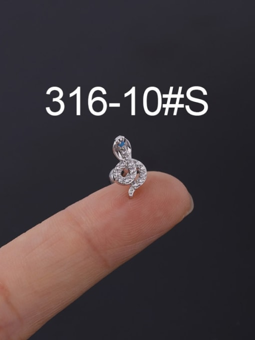 10S Stainless steel with Cubic Zirconia Ear Bone Nail/Puncture Earring