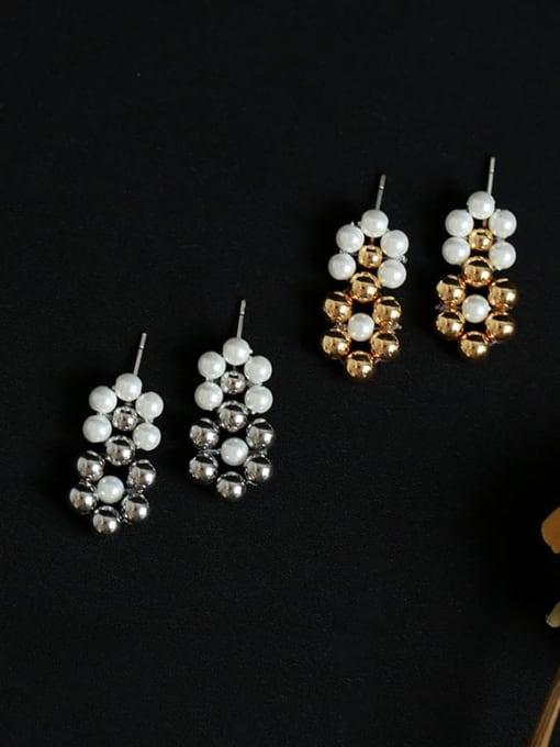 Five Color Brass Bead Geometric Vintage Drop Earring 2