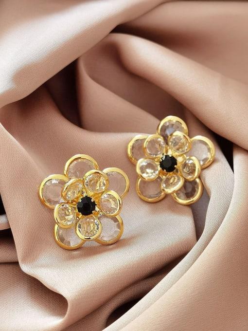 14k Gold Brass Cubic Zirconia Flower Vintage Stud Earring