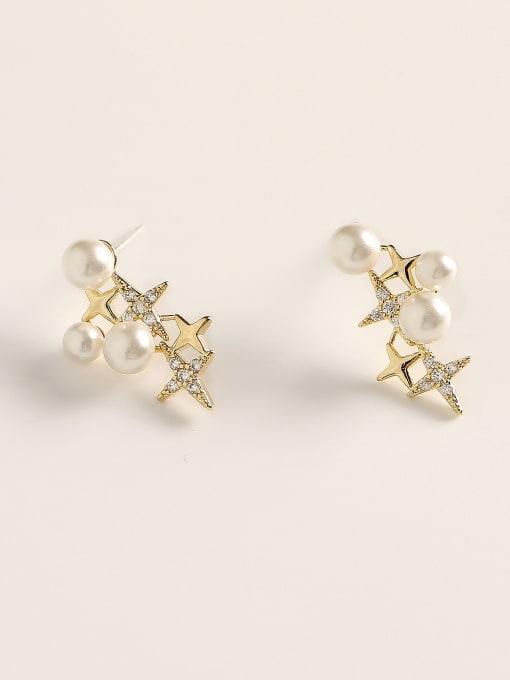 HYACINTH Brass Cubic Zirconia Star Dainty Stud Earring 2