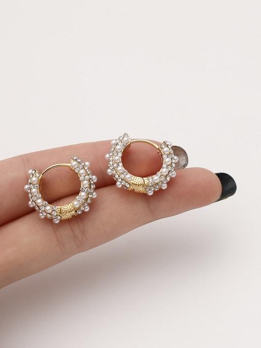 HYACINTH Brass Imitation Pearl Round Vintage Hoop Earring 4