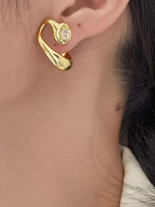 HYACINTH Brass Rhinestone Irregular Hip Hop Stud Earring 1