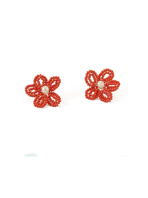 Five Color Alloy Bead Enamel Flower Bohemia Stud Earring 2