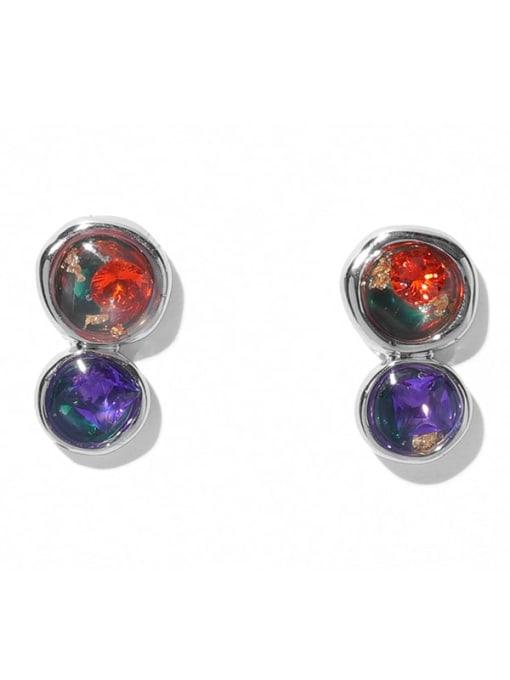 TINGS Brass Rhinestone Geometric Minimalist Stud Earring 2