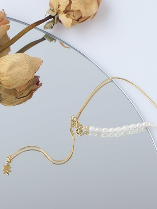 Five Color Brass Freshwater Pearl Geometric Minimalist Lariat Necklace 1