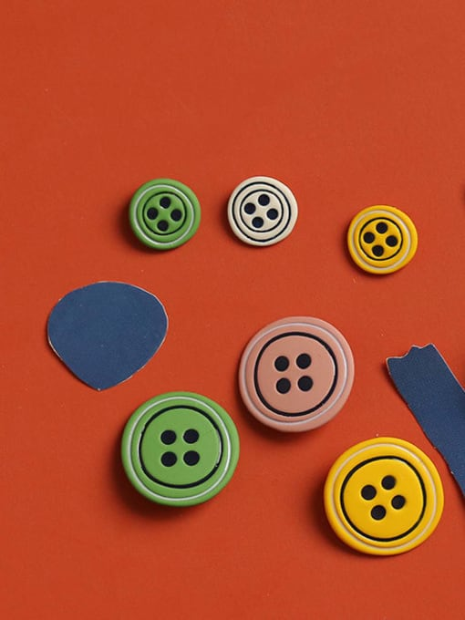 Five Color Alloy Enamel Geometric Cute  Candy color asymmetry Buttons Stud Earring