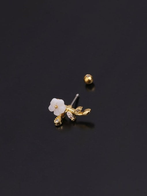 HISON Copper With Cubic Zirconia White Round Minimalist Stud Earring 4