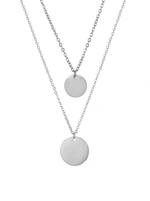 Steel color Stainless steel Round Minimalist Multi Strand Necklace