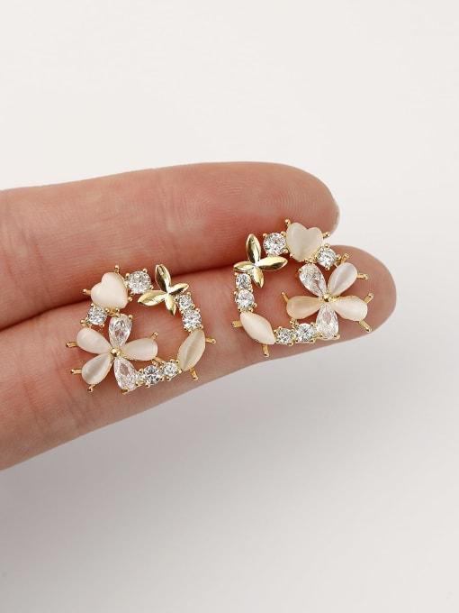 HYACINTH Brass Cats Eye Flower Cute Stud Earring 2