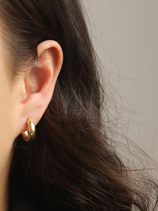 ACCA Brass Smooth Geometric Minimalist Hoop Earring 1