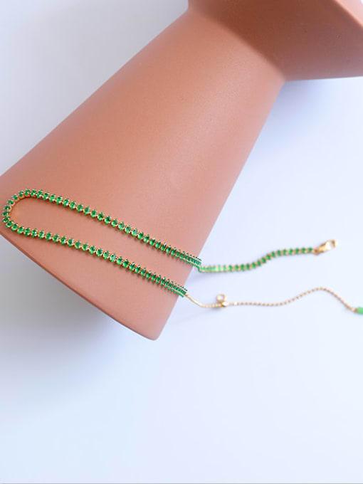 Five Color Brass Cubic Zirconia Geometric Hip Hop Necklace