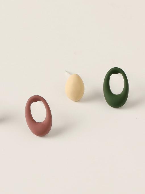 HYACINTH Brass Enamel Geometric Minimalist Stud Trend Korean Fashion Earring 0