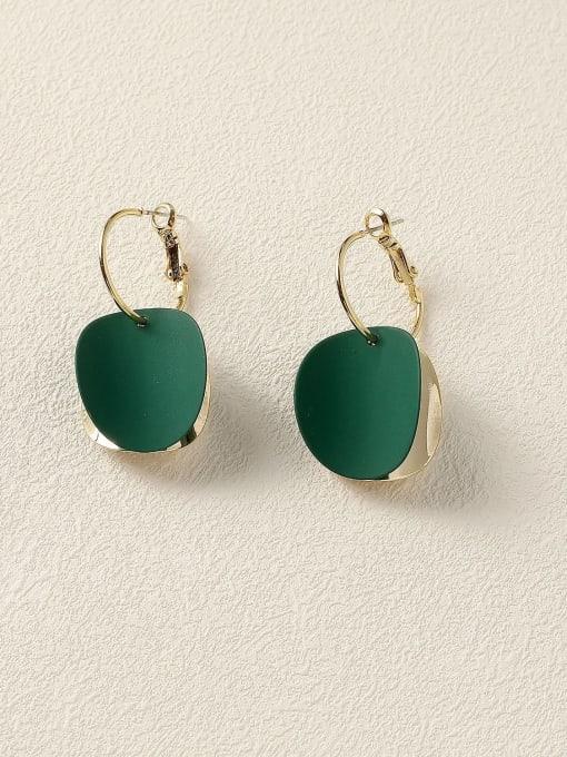 blackish green Brass Enamel Geometric Vintage Huggie Earring