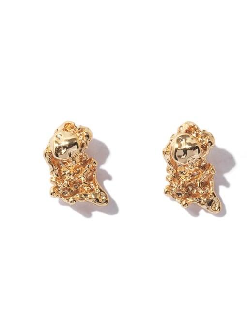 TINGS Brass Irregular Vintage Stud Earring 3