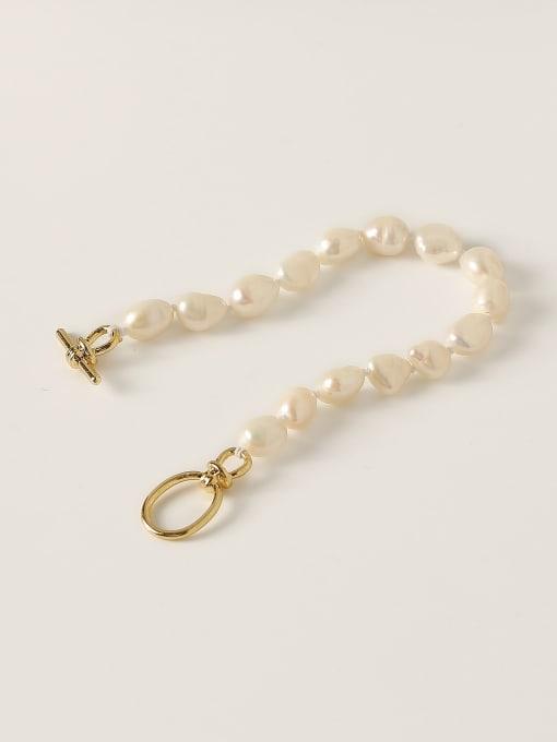 HYACINTH Brass Freshwater Pearl Geometric Minimalist Beaded Bracelet 3