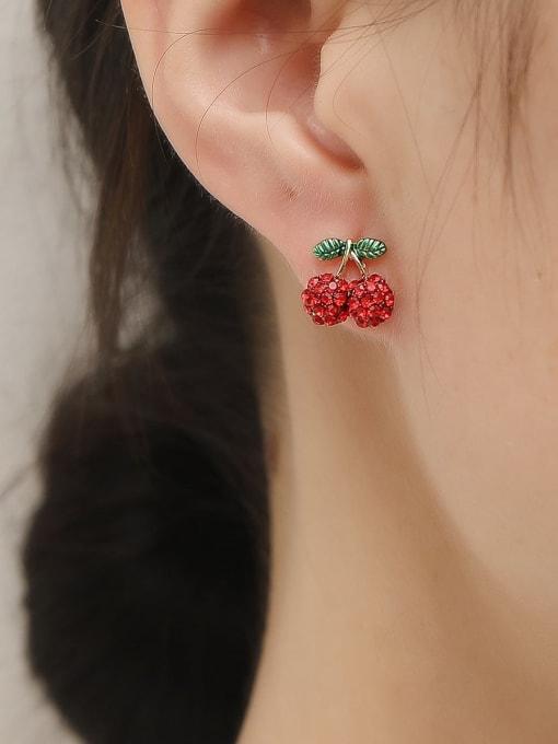HYACINTH Brass Rhinestone Friut Cute Stud Trend Korean Fashion Earring 1