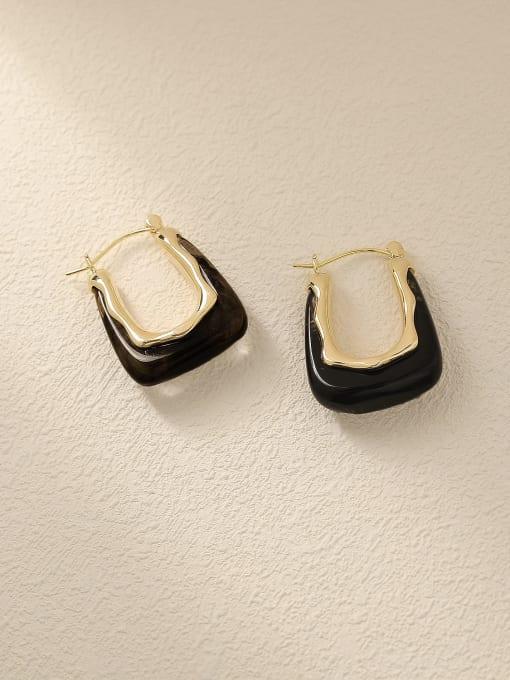 14k Gold+ Black Brass Resin Geometric Vintage Drop Trend Korean Fashion Earring