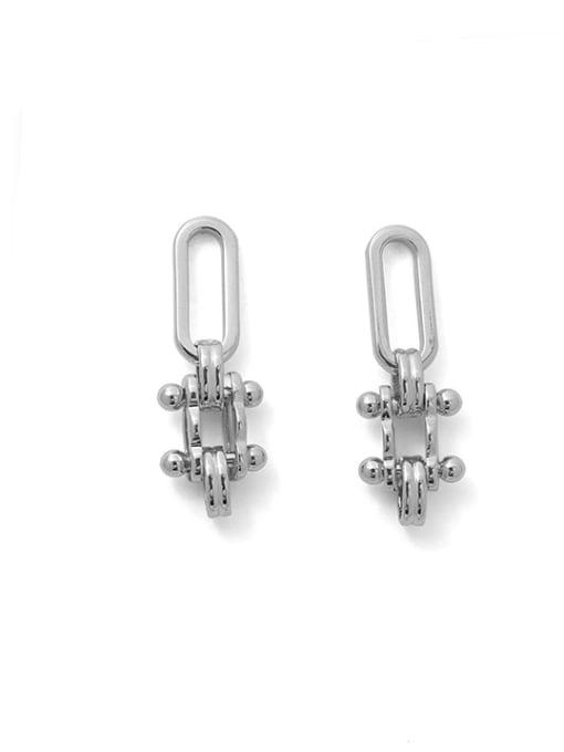 Platinum Brass Geometric Minimalist Drop Earring
