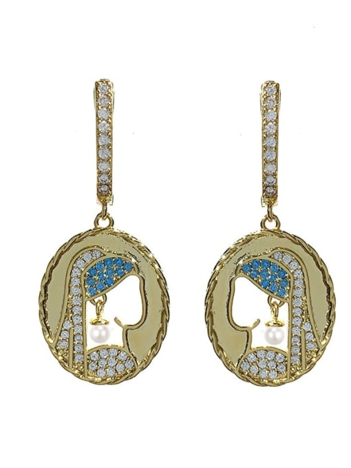 golden Brass Cubic Zirconia Geometric Vintage Huggie Earring