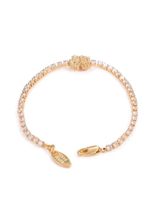Zircon Bracelet Brass Cubic Zirconia Geometric Hip Hop Link Bracelet