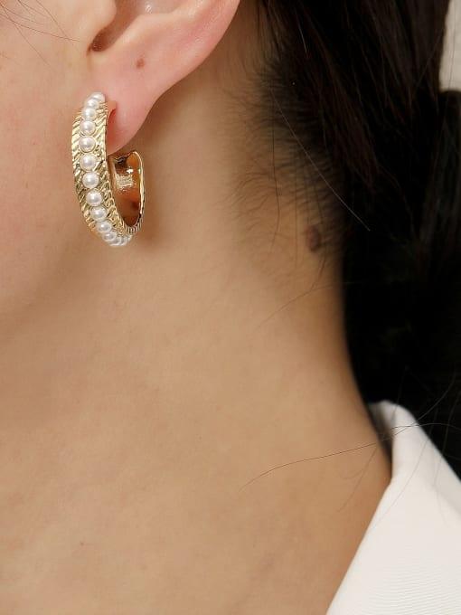 HYACINTH Brass Imitation Pearl Geometric Hip Hop Hoop Earring 2