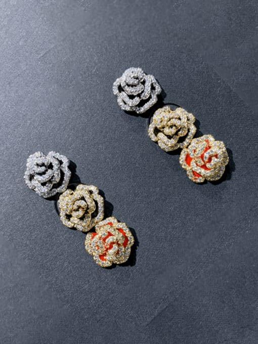 SUUTO Brass Cubic Zirconia Flower Cute Stud Earring 0