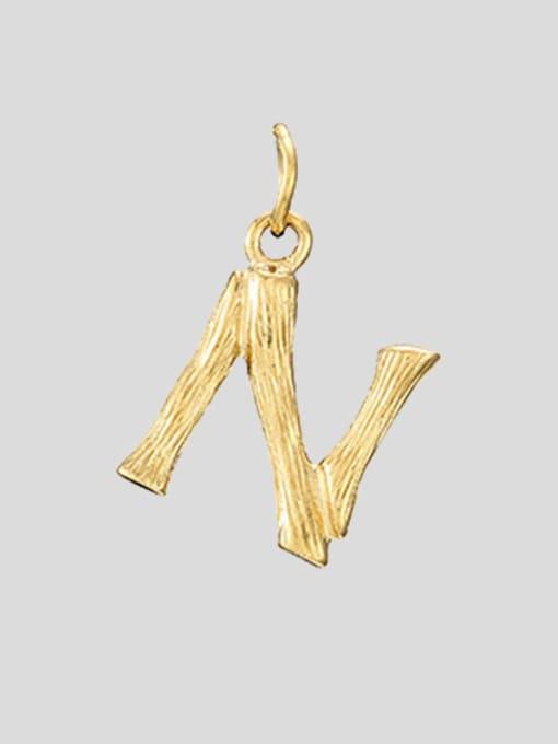 N 14K Gold Titanium Steel Letter Minimalist Necklace