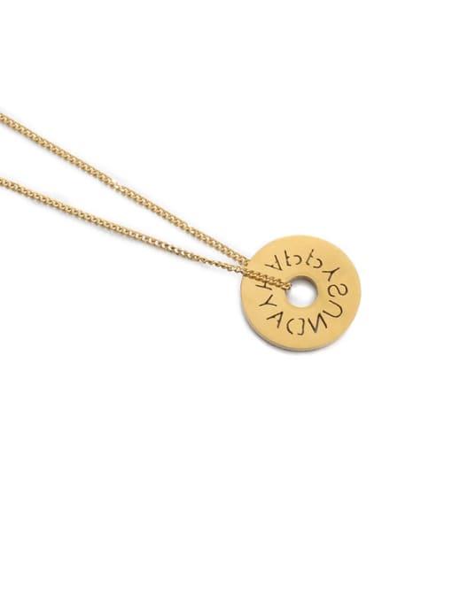 Hollow Necklace Titanium Steel Locket Minimalist Geometric  Pendant Necklace