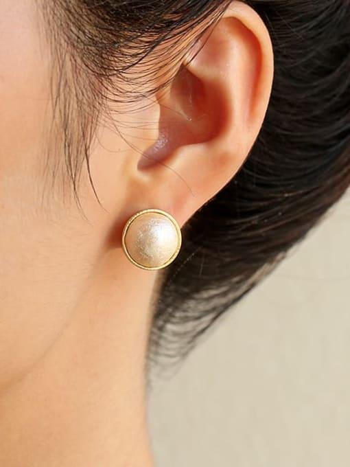 Five Color Brass Imitation Pearl Geometric Hip Hop Stud Earring 1