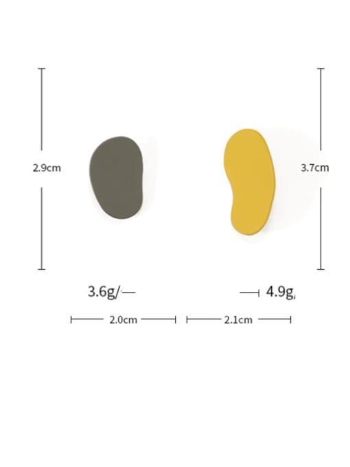 Five Color Alloy Enamel Geometric Minimalist Stud Earring 2