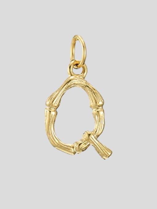 Q 14K Gold Titanium Steel Letter Minimalist Necklace