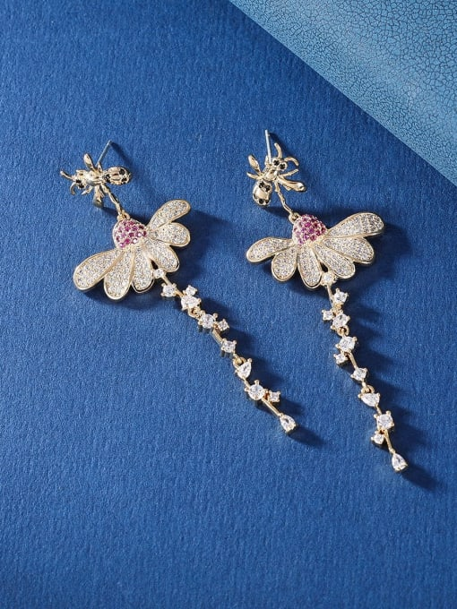 Golden Bee Brass Cubic Zirconia Flower Luxury Drop Earring