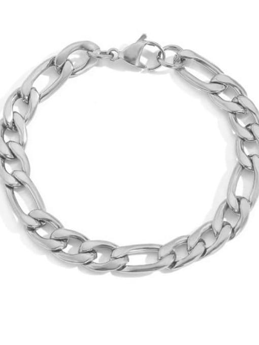 Steel color 8mm 19cm Stainless steel Geometric Minimalist Link Bracelet