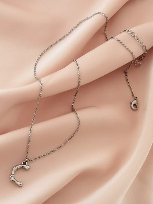white K Brass Geometric Minimalist Necklace