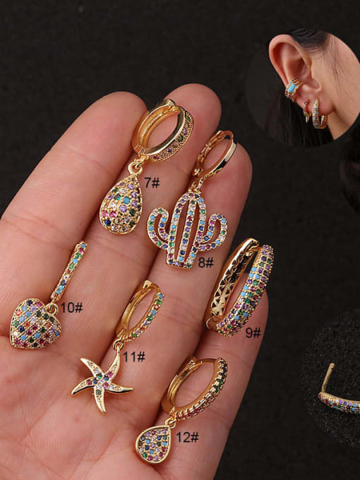 HISON Copper with Cubic Zirconia Multi Color Star Dainty Hoop Earring 1