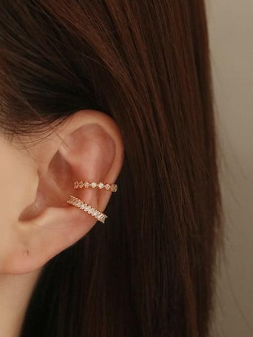 ACCA Brass Cubic Zirconia Geometric Vintage Clip Earring 1