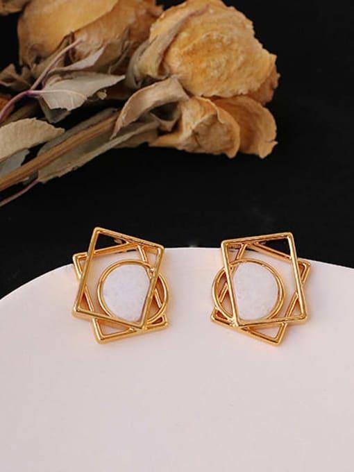 ACCA Brass Hollow Geometric Minimalist Stud Earring 2