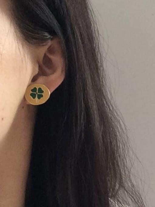 Five Color Alloy Enamel Clover Cute Stud Earring 1