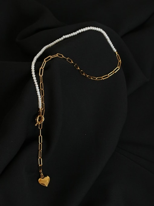 Five Color Brass Imitation Pearl Heart Minimalist Lariat Necklace 3