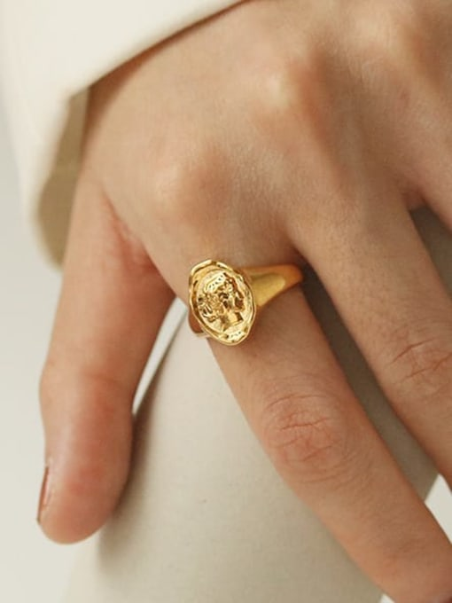 TINGS Brass Geometric Portrait Vintage Band Ring 1