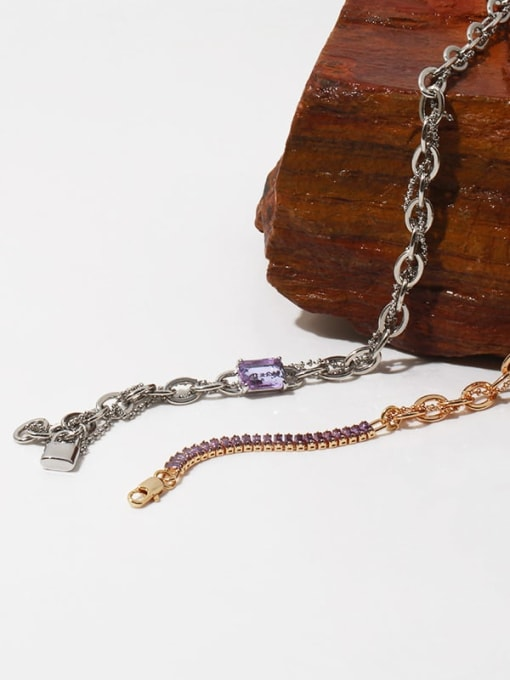 TINGS Brass Cubic Zirconia Geometric Vintage Multi Strand Necklace 3