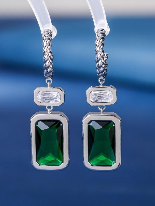 green Brass Cubic Zirconia Geometric Luxury Hook Earring