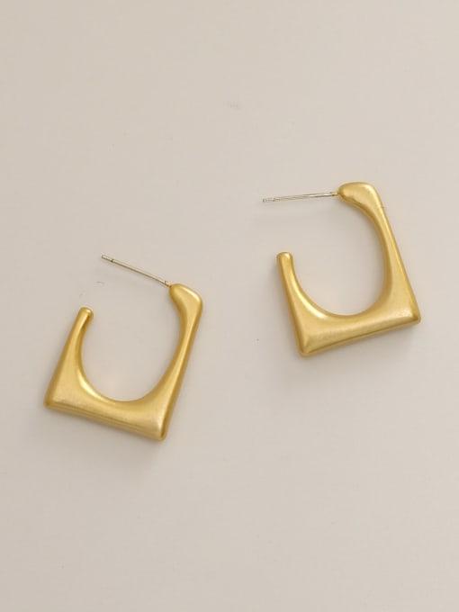 Dumb gold Brass  Smooth Geometric Minimalist Stud Earring