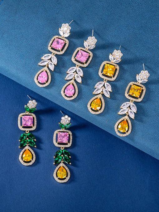 OUOU Brass Cubic Zirconia Heart Luxury Drop Earring 1