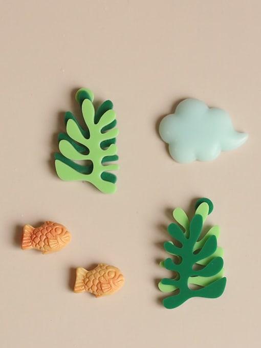 Five Color Alloy Enamel Tree Cute Stud Earring